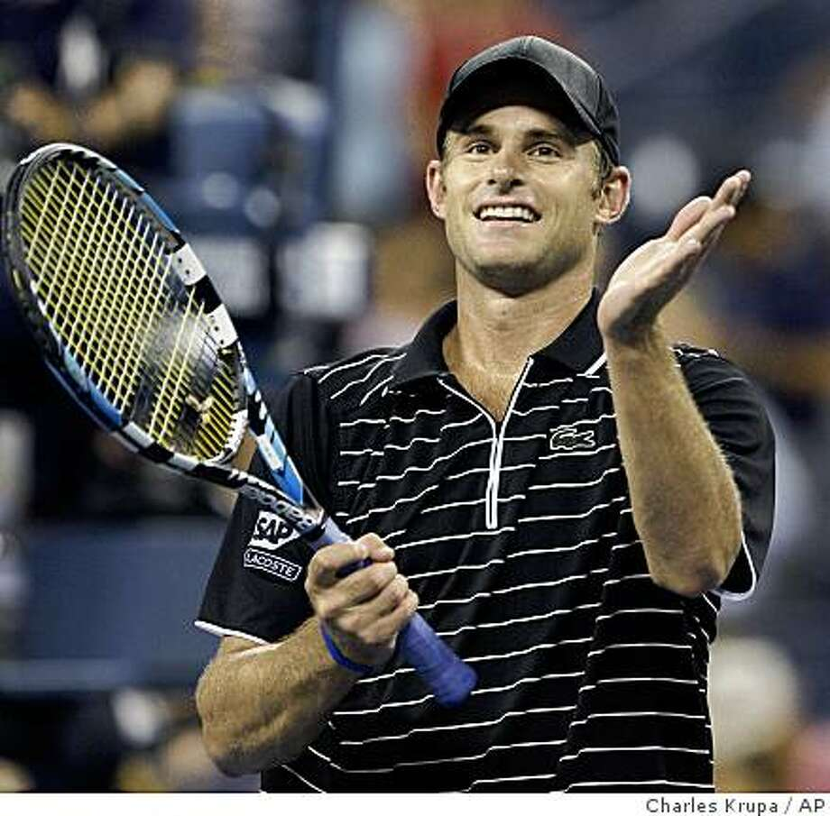 Andy Roddick celebrates his win over Fernando Gonzalez at the U.S. Open in New York, Tuesday, Sept. 2, 2008. Photo: Charles Krupa, AP