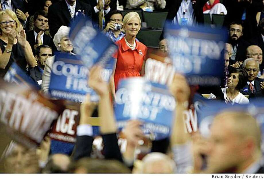 Cindy McCain, wife of Republican presidential candidate U.S. Sen. John McCain (R-AZ), stands during a tribute to her on stage at the second session of the 2008 Republican National Convention in St. Paul, Minnesota, September 2, 2008. Photo: Brian Snyder, Reuters