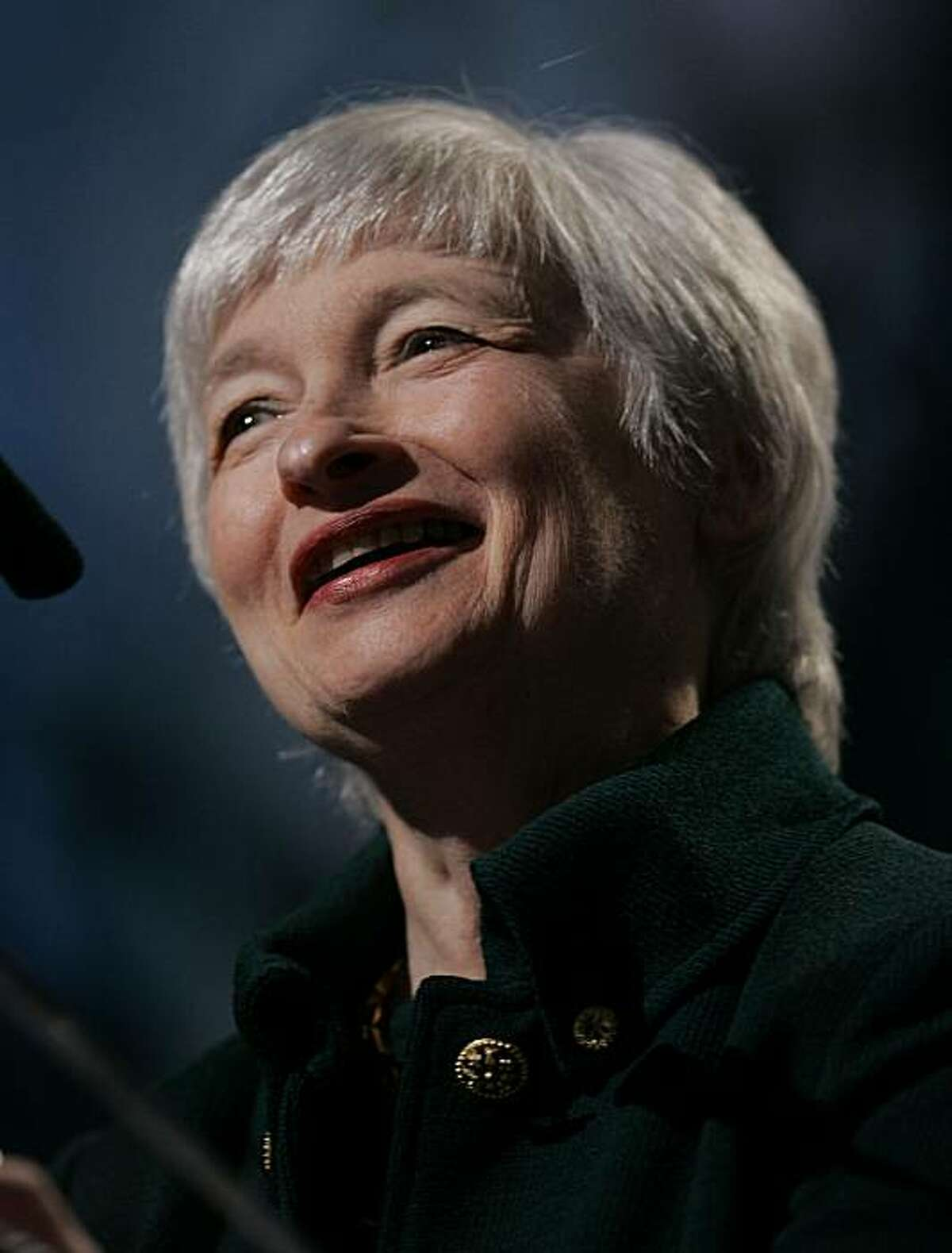 """Janet L. Yellen, President and CEO of the Federal Reserve Bank of San Francisco, speaks about foreclosures to the Bay Area Council Outlook Conference in Alameda, Calif., Wednesday, April 16, 2008. Yellen said the mortgage crisis and financial services turmoil are likely to be a """"major drag"""" on the national economy into 2009. (AP Photo/Paul Sakuma)"""