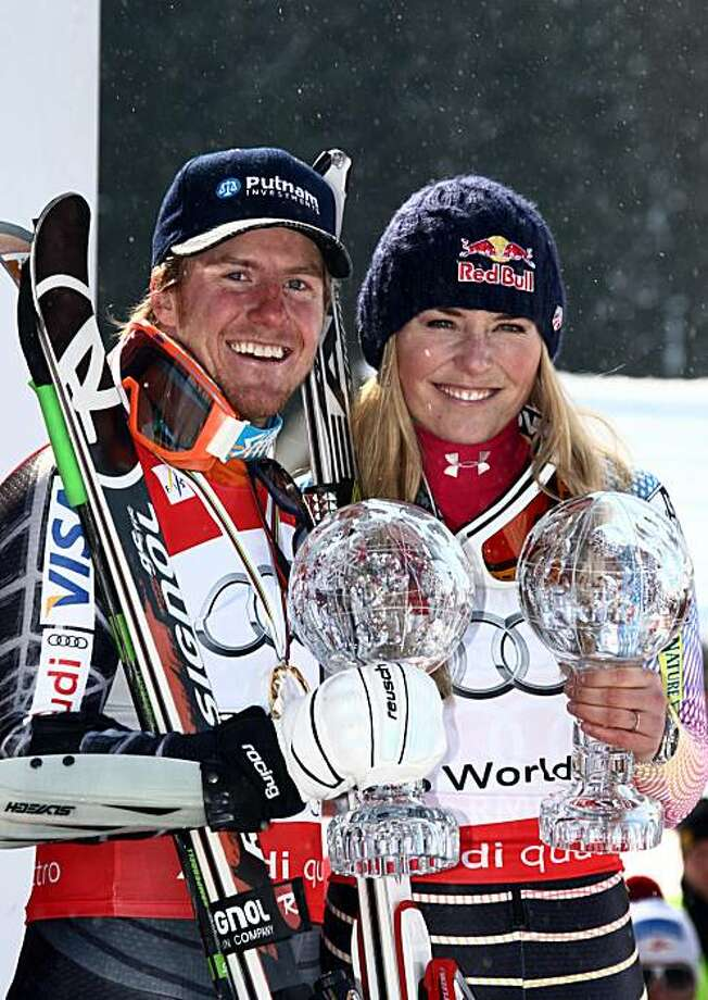 GARMISCH-PARTENKIRCHEN, GERMANY - MARCH 12:  (FRANCE OUT)  Ted Ligety of the USA takes the globe for the overall World Cup Giant slalom and Lindsey Vonn of the USA takes the globe for the overall world cup Super G during the Audi FIS Alpine Ski World CupMen's Giant Slalom on March 12, 2010 in Garmisch-Partenkirchen, Germany. Photo: Alexis Boichard/Agence Zoom, Getty Images