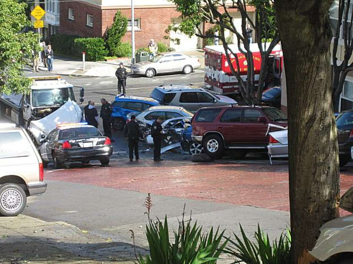 A runaway tow truck crashed into at least 10 parked cars Monday. Two people were injured.