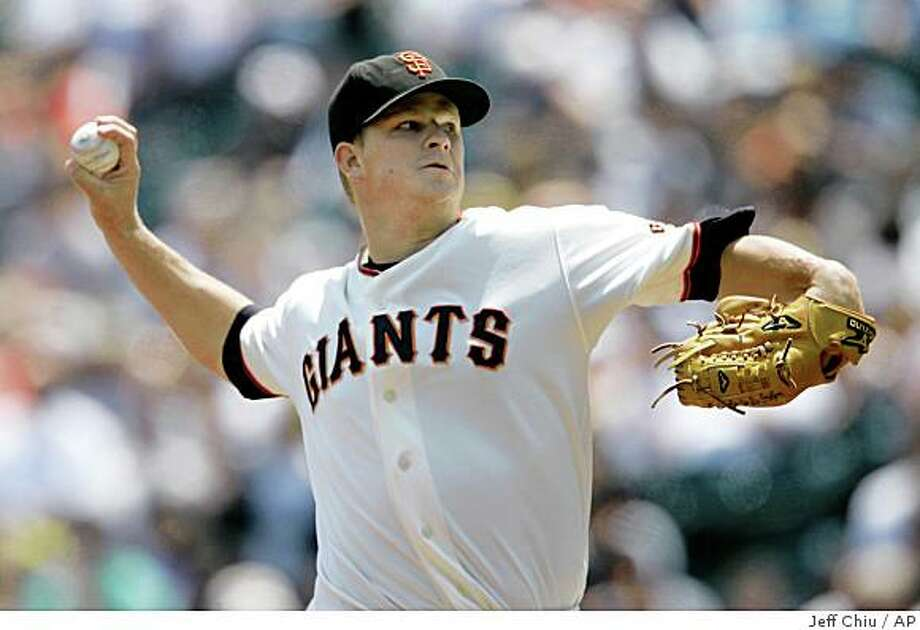 San Francisco Giants' Matt Cain pitches to the Washington Nationals in the fourth inning of a baseball game in San Francisco, Thursday, July 24, 2008. The Giants won, 1-0. Cain pitched a four-hit shutout. (AP Photo/Jeff Chiu) Photo: Jeff Chiu, AP