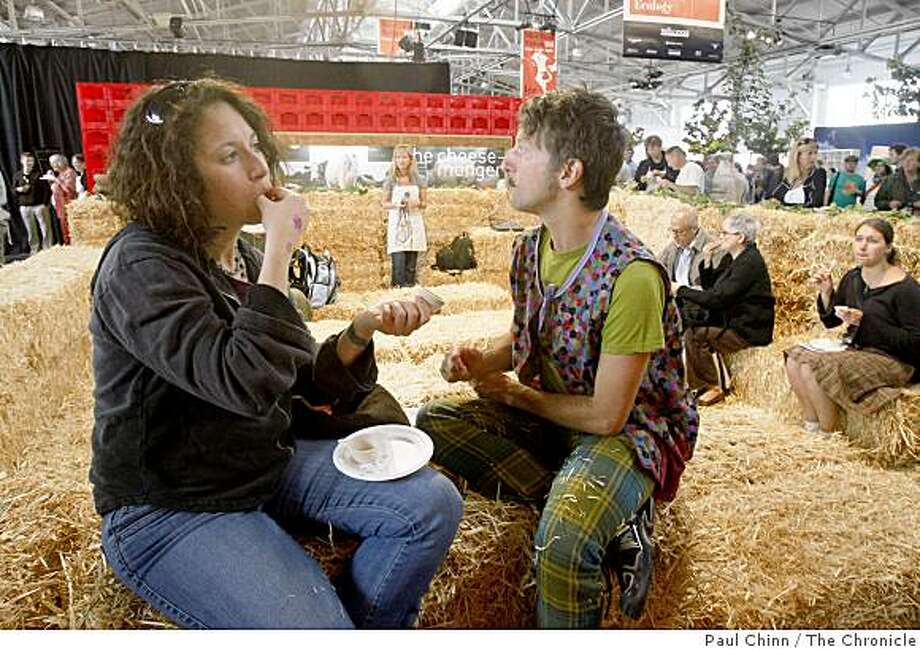 Tanya Einhorn (left) and Orchid enjoy a cheese sampler at Slow Food Nation. Photo: Paul Chinn, The Chronicle