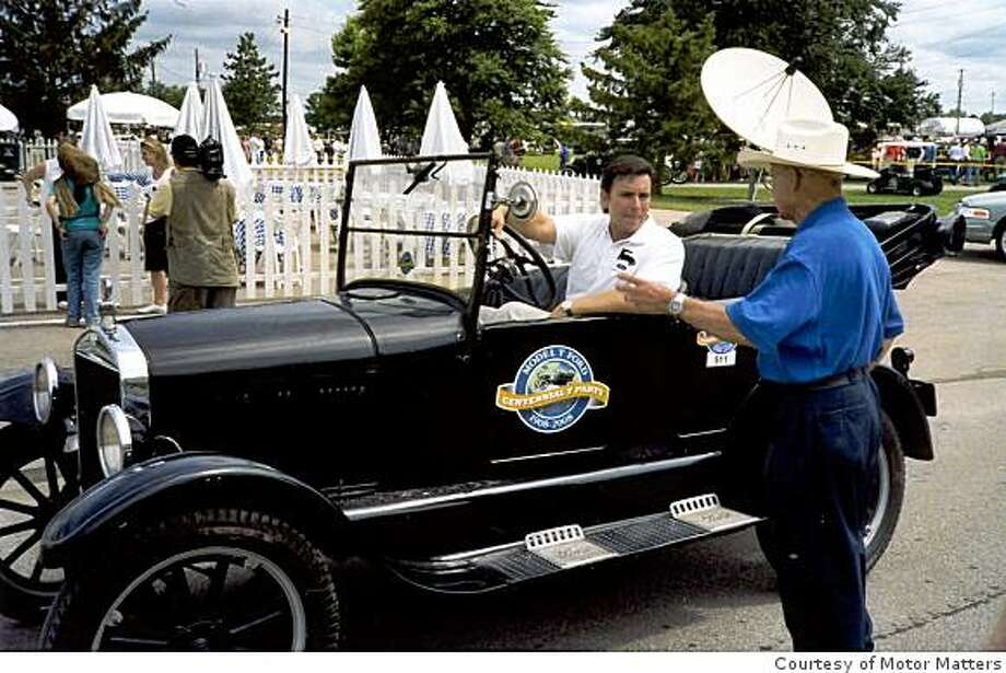 During the gathering of Model T owners at the T Party in Richmond, Ind. Mark Fields, President of Ford America, gets a few pointers about driving the Model T and finds that it?s harder than it looks. Photo: Courtesy Of Motor Matters