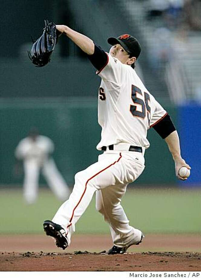 San Francisco Giants starting pitcher Tim Lincecum throws to the Colorado Rockies in the first inning of a baseball game in San Francisco, Wednesday, Aug. 27, 2008. (AP Photo/Marcio Jose Sanchez) Photo: Marcio Jose Sanchez, AP