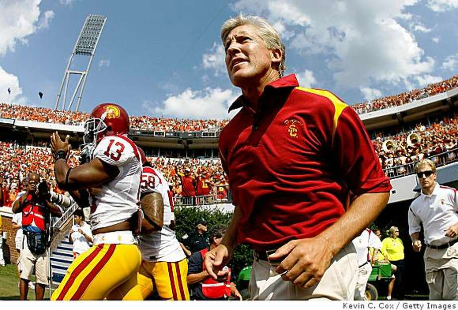 CHARLOTTESVILLE, VA - AUGUST 30:  Head coach Pete Carroll of the Southern California Trojans enters the field to face the Virginia Cavaliers at Scott Stadium on August 30, 2008 in Charlottesville, Virginia.  (Photo by Kevin C. Cox/Getty Images) Photo: Getty Images