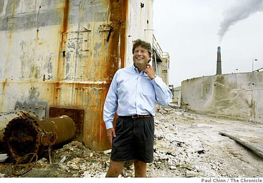 Brent Constantz walks through an old magnesium plant in Moss Landing, Calif., on Tuesday, July 15, 2008. Constantz is president of the Moss Landing Cement Company which will soon begin producing a cement mixture that doesn't discharge carbon dioxide into the environment.Photo by Paul Chinn / The Chronicle Photo: Paul Chinn, The Chronicle