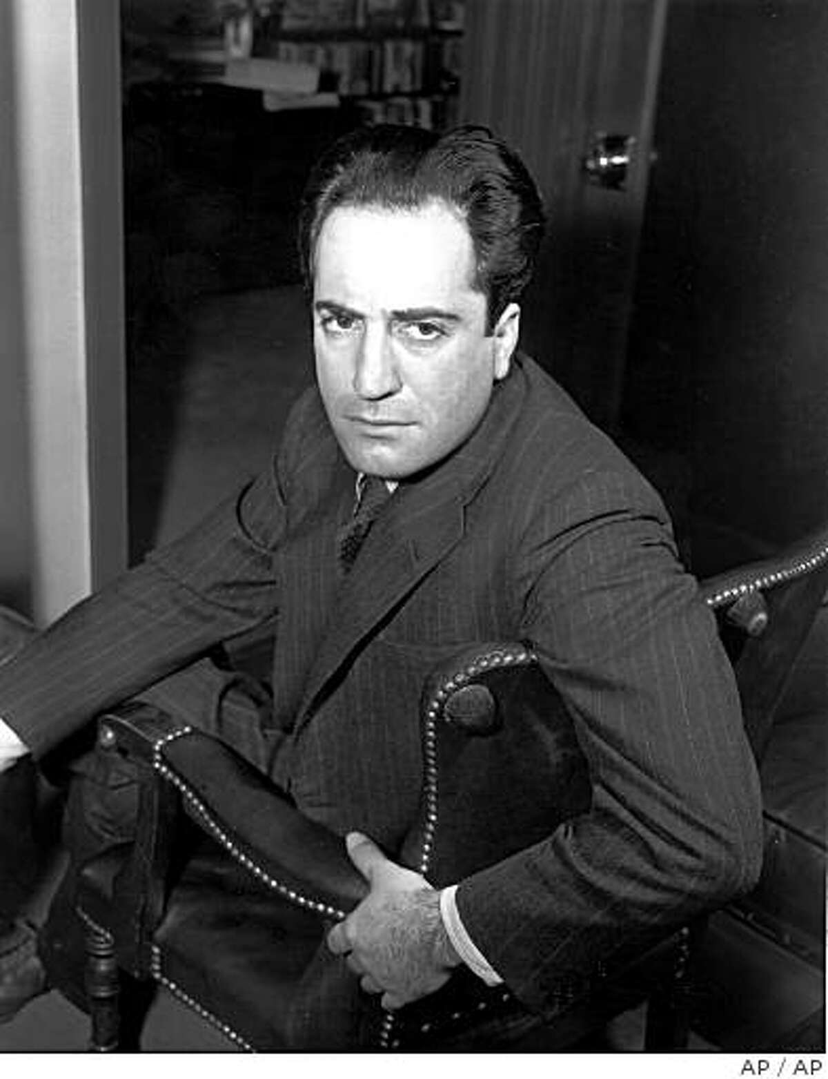 FILE--Writer William Saroyan poses in this May 2, 1941 file photo. The ashes of Saroyan were laid to rest 20 years after his death, in Fresno, Calif., March 3, 2002. Half of Saroyan's ashes were sent to Armenia after he died at age 72 May 18, 1981, and the other half had been sitting in obscurity on a Fresno chapel's shelf. (AP Photo/File)