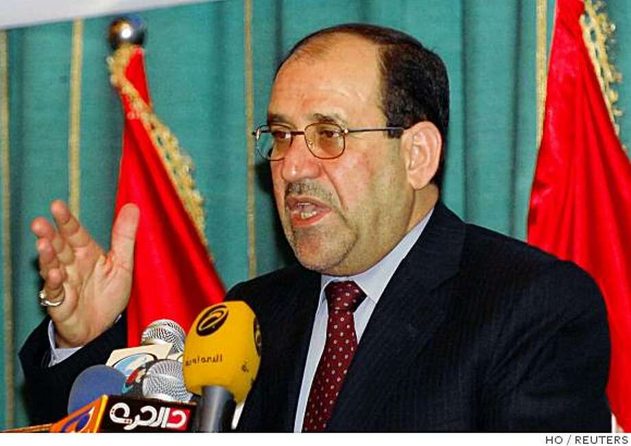Iraq's Prime Minister Nuri al-Maliki speaks during a meeting with Iraqi tribal leaders in Baghdad August 27, 2008.    REUTERS/Iraqi Government/Handout   (IRAQ) Photo: HO, REUTERS