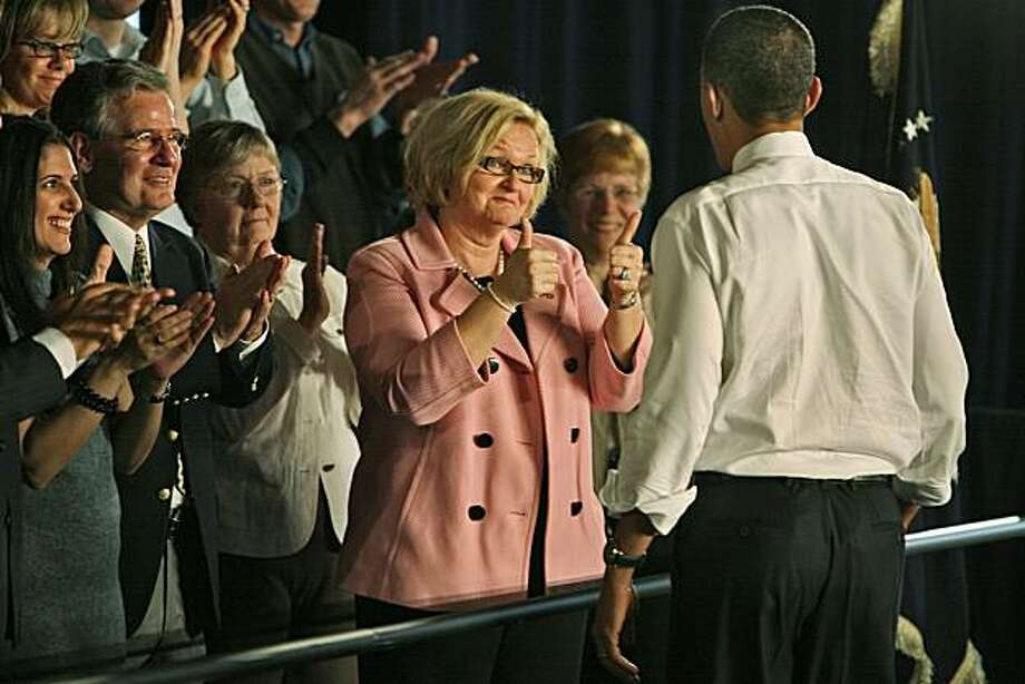 Sen. Claire McCaskill (D-Mo.) gives the thumbs up to President Barack Obama after he spoke at St. Charles High School about healthcare reform in St. Charles, Missouri, Wednesday, March 10, 2010.(J.B. Forbes/St. Louis Post-Dispatch/MCT) Photo: J.B. Forbes, MCT