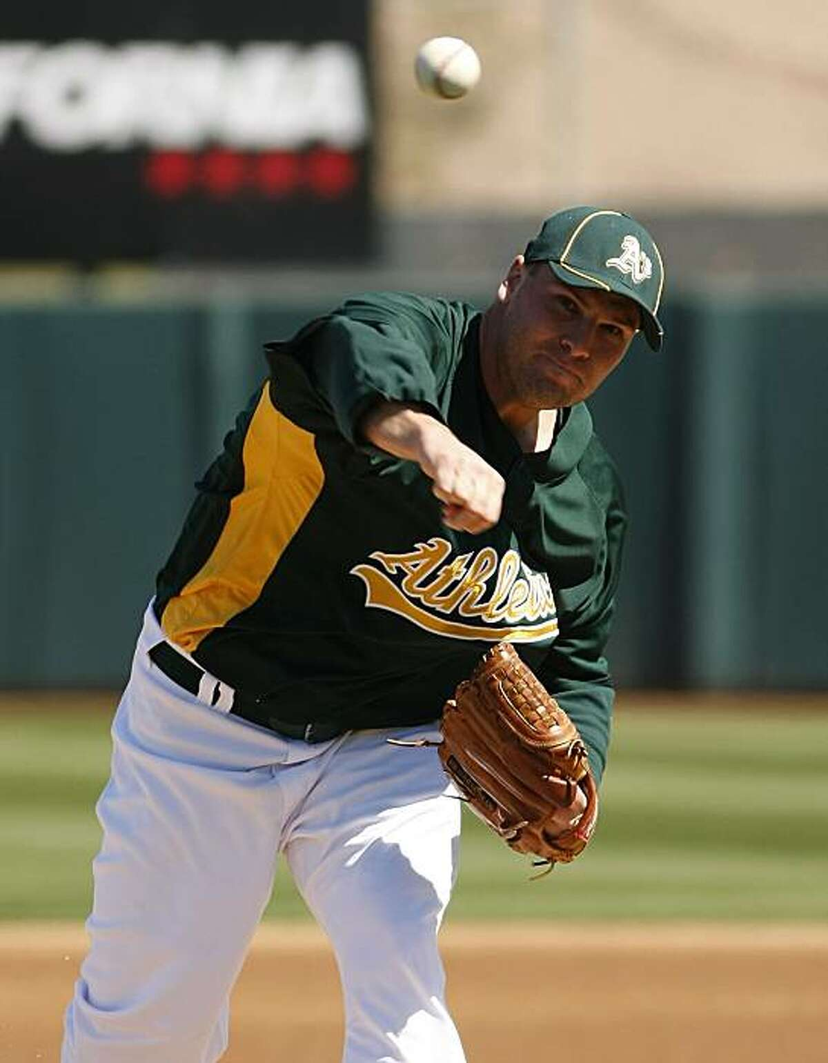 Oakland Athletics' Ben Sheets throws during the first inning against the Milwaukee Brewers during a spring training baseball game on Friday, March 5, 2010, in Phoenix.
