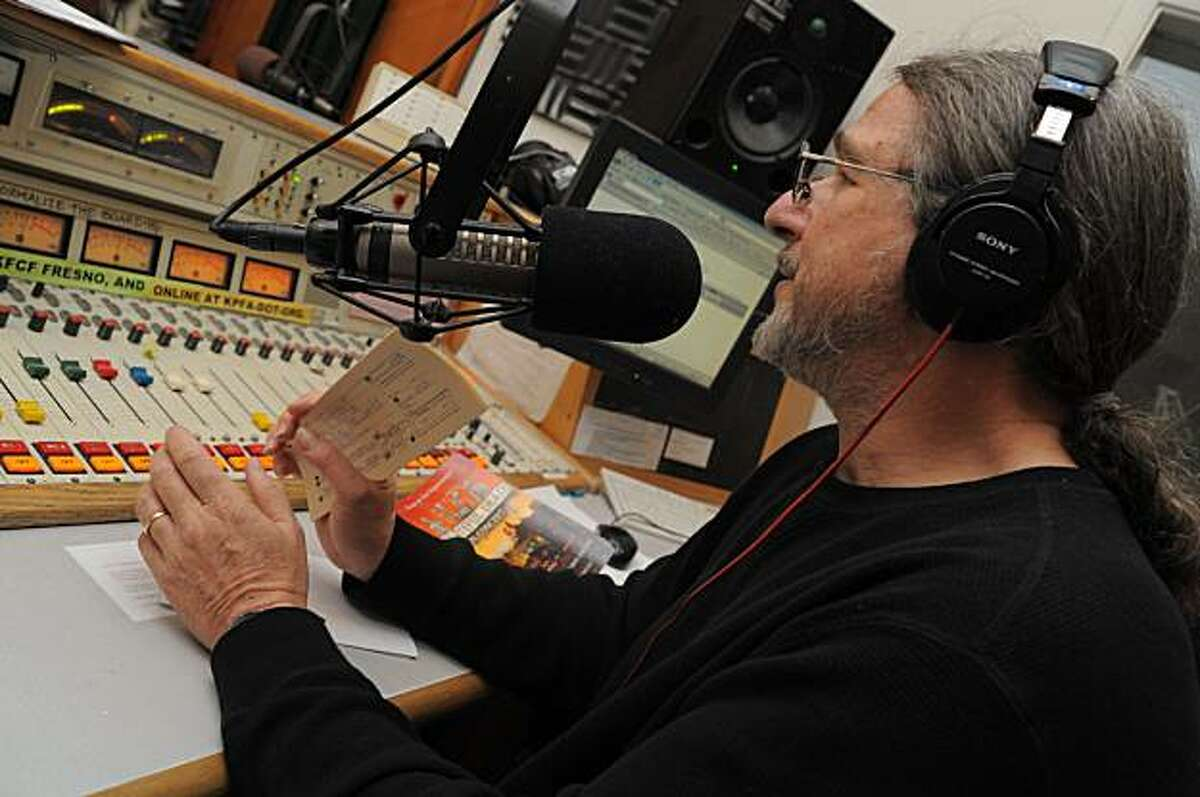 David Gans, a musician and long-time radio DJ in the East Bay, hosted a 16-hour Grateful Dead-themed pledge drive for KPFA in Berkeley, CA on Saturday, February 20, 2010. Gans celebrated his 25th anniversary in broadcasting Saturday. He is pictured here in the first few hours of his Grateful Dead marathon.