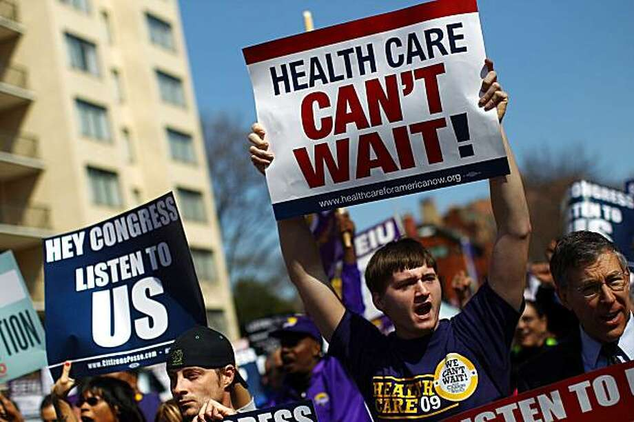 WASHINGTON - MARCH 09:  Supporters of national health care legislation demonstrate on their way to the Ritz-Carlton Hotel March 9, 2010 in Washington, DC. Demonstrators protested outside the hotel as America's Health Insurance Plans annual policy conference took place inside. Photo: Win McNamee, Getty Images