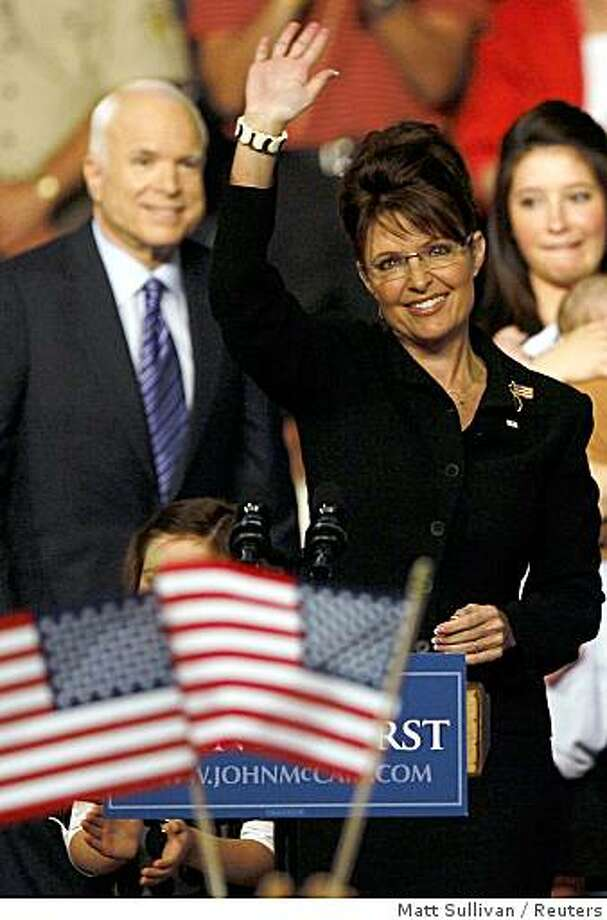 Alaska Governor Sarah Palin acknowledges the crowd after being introduced as the vice presidential candidate by US Republican presidential candidate Senator John McCain at a campaign event in Dayton, Ohio. Photo: Matt Sullivan, Reuters