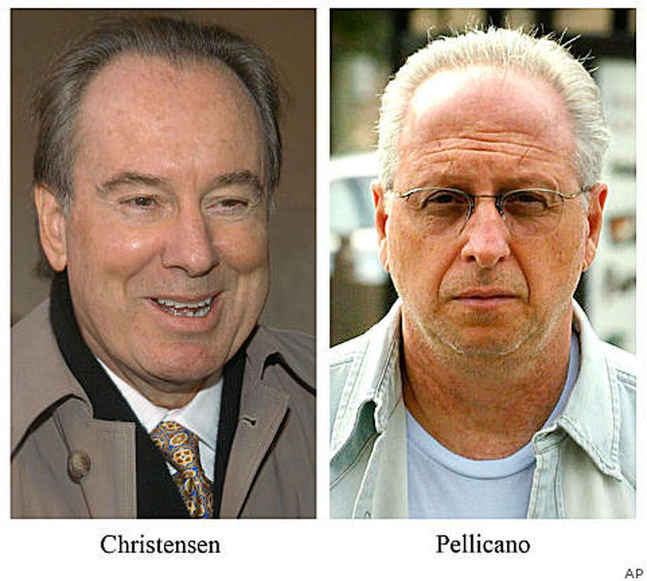** FILE ** This Nov. 13, 2003 file photo shows private investigator Anthony Pellicano, in Los Angeles and Terry Christensen, making a statement to the media prior to the start of a lawsuit trial in Wilmington, Del., Dec. 3, 2003. A jury convicted former Hollywood private eye Anthony Pellicano and entertainment lawyer Terry Christensen on Friday Aug. 29, 2008, of federal wiretapping and conspiracy charges.(AP Photo/Pat Crowe II/Christensen; Los Angeles Times, Brian Vander Burg/Pellicano) ** MANDATORY CREDIT, NO SALES, NO FOREIGN, NO MAGS, TV OUT ** Photo: AP