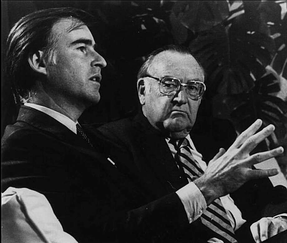 "A 1980 file photo of former California governors Edmund G. ""Pat""  Brown, right, and his son Jerry Brown. Photo: Associated Press"
