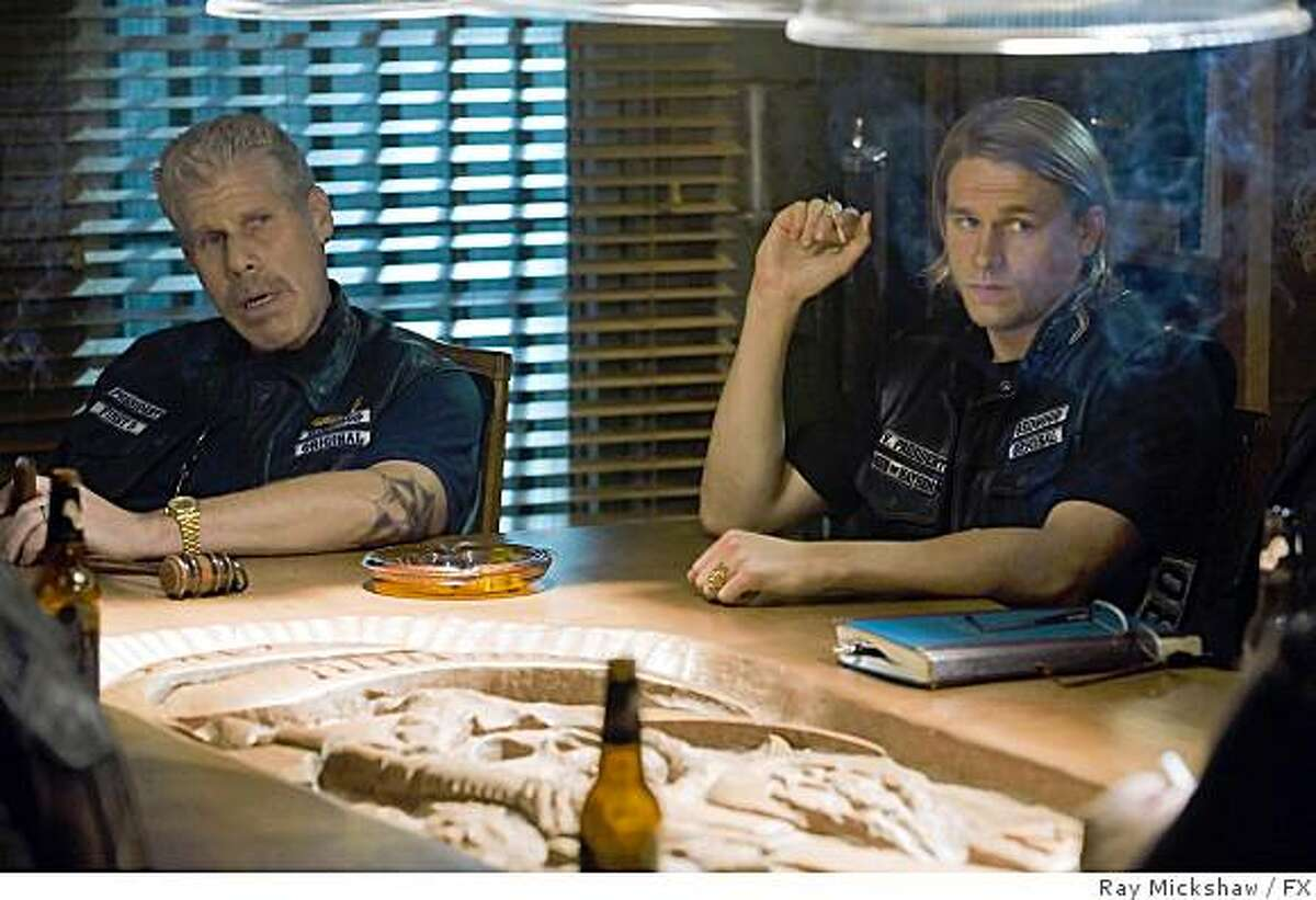 """SONS OF ANARCHY: Ron Perlman, left, as Clay Morrow and Charlie Hunnam, right, as """"Jax"""" ."""