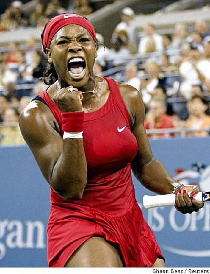 Serena Williams celebrates after winning a game in the second set against Severine Bremond of France during their match at the U.S. Open at Flushing Meadows in New York, September 1, 2008. Photo: Shaun Best, Reuters