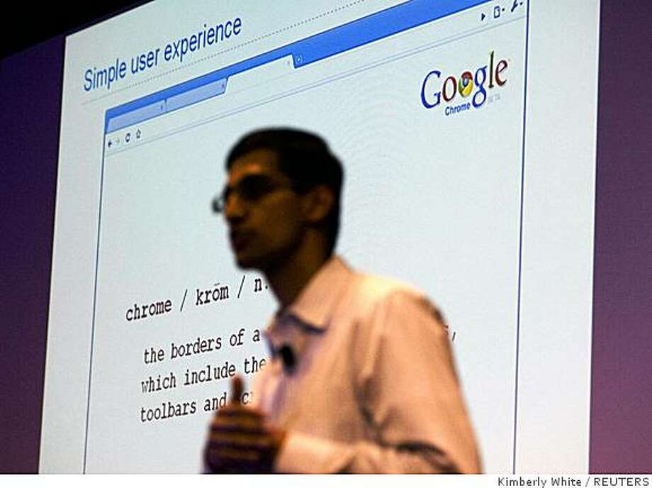 Google's Sundar Pichai, vice president of product management, introduces the company's new web browser, dubbed Google Chrome, during a news conference at the company's headquarters in Mountain View on Tuesday. Photo: Kimberly White, REUTERS