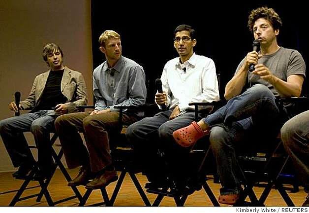 Google's co-founders Larry Page (L) and Sergey Brin (R) hold a news conference introducing the company's new web browser, dubbed Google Chrome, at the company headquarters in Mountain View on Tuesday. Photo: Kimberly White, REUTERS