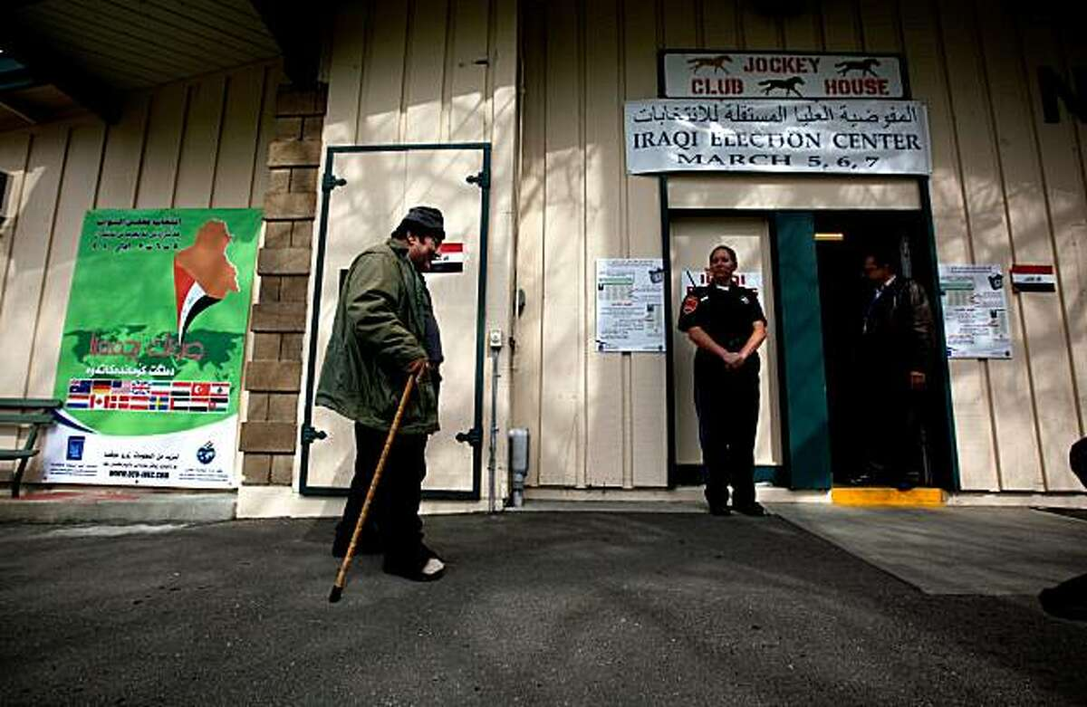 William Mikhail, of Modesto, walks to the polling center to vote in the Iraq election at the Alameda County Fairgrounds in Pleasanton, Calif. on Friday Mar. 5, 2010. The site is one of eight places across the country where Iraqis living in the United States can vote in their nation's elections.