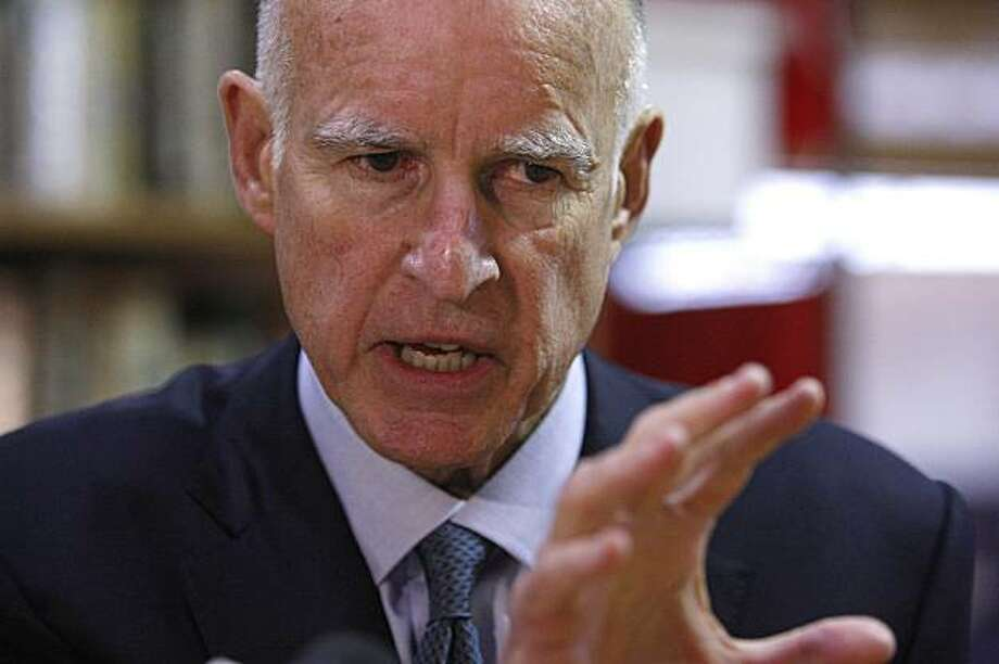 California Attorney General Jerry Brown speaks during an interview in Oakland, Calif. on Wednesday, March 3, 2010. Brown, 71, who served two terms as governor in the era before term limits, officially declared his candidacy on his Web site Tuesday. Photo: Ben Margot, AP
