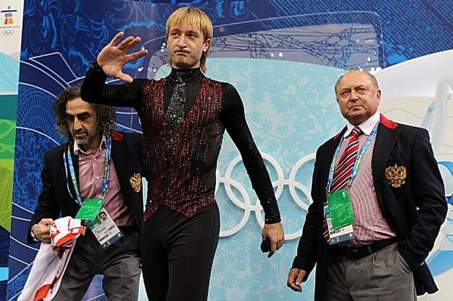 VANCOUVER, BC - FEBRUARY 18:  Evgeni Plushenko of Russia looks dejected in the kiss and cry area in the men's figure skating free skating on day 7 of the Vancouver 2010 Winter Olympics at the Pacific Coliseum on February 18, 2010 in Vancouver, Canada. Photo: Matthew Stockman, Getty Images