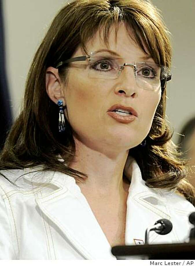**FILE** First term Alaska Gov. Sarah Palin is seen during a press conference in Anchorage in an Aug. 13, 2008 file photo. Palin has bee named as a possible wild-card candidate for John McCain's vice presidential choice.    (AP Photo/Anchorage Daily Newsk, Marc Lester, File)  ** THE MAT-SU VALLEY FRONTIERSMAN OUT ** Photo: Marc Lester, AP