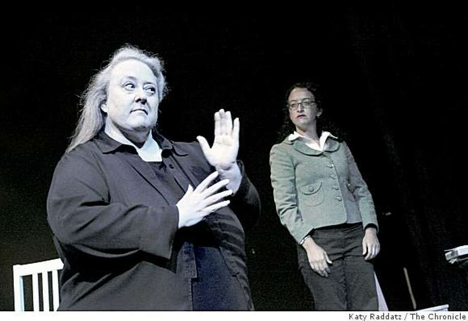 """Nancy, the mother who lost her daughter to a serial killer, played by Suzan Kendall, left, persuades Agnetha, the psychiatrist, played by Sandra Weingart, right, to let her talk to the killer, in the rehearsal of """"Frozen"""" which is playing at the Eureka Theatre in San Francisco, Calif. on Thursday, August 21, 2008. Photo: Katy Raddatz, The Chronicle"""