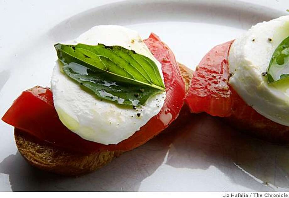 Caprese salad hors d'oeuvre/toast styled by the Chronicle food department in San Francisco, Calif., on Thursday, August 7, 2008. Photo: Liz Hafalia, The Chronicle
