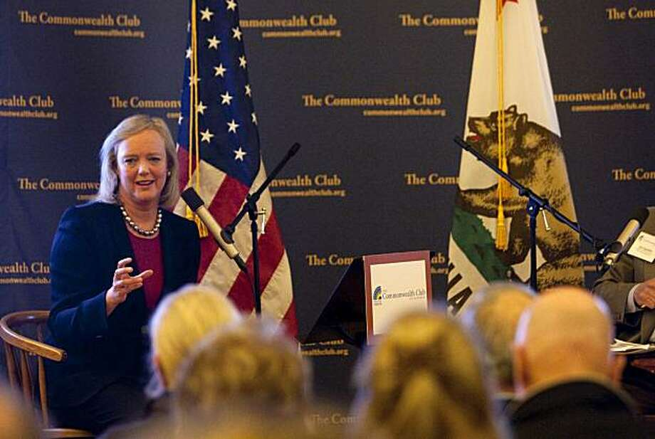 California gubernatorial candidate Meg Whitman speaks to the crowd at an even organized by the Commonwealth Club at the Lafayette Veterans Memorial Hall in Lafayette, Calif., on Tuesday, February 16, 2010. Photo: Laura Morton, Special To The Chronicle