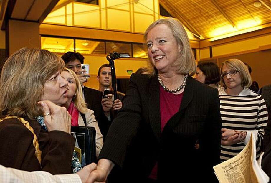 California gubernatorial candidate Meg Whitman greets supporters after speaking at an even organized by the Commonwealth Club at the Lafayette Veterans Memorial Hall in Lafayette, Calif., on Tuesday, February 16, 2010. Photo: Laura Morton, Special To The Chronicle