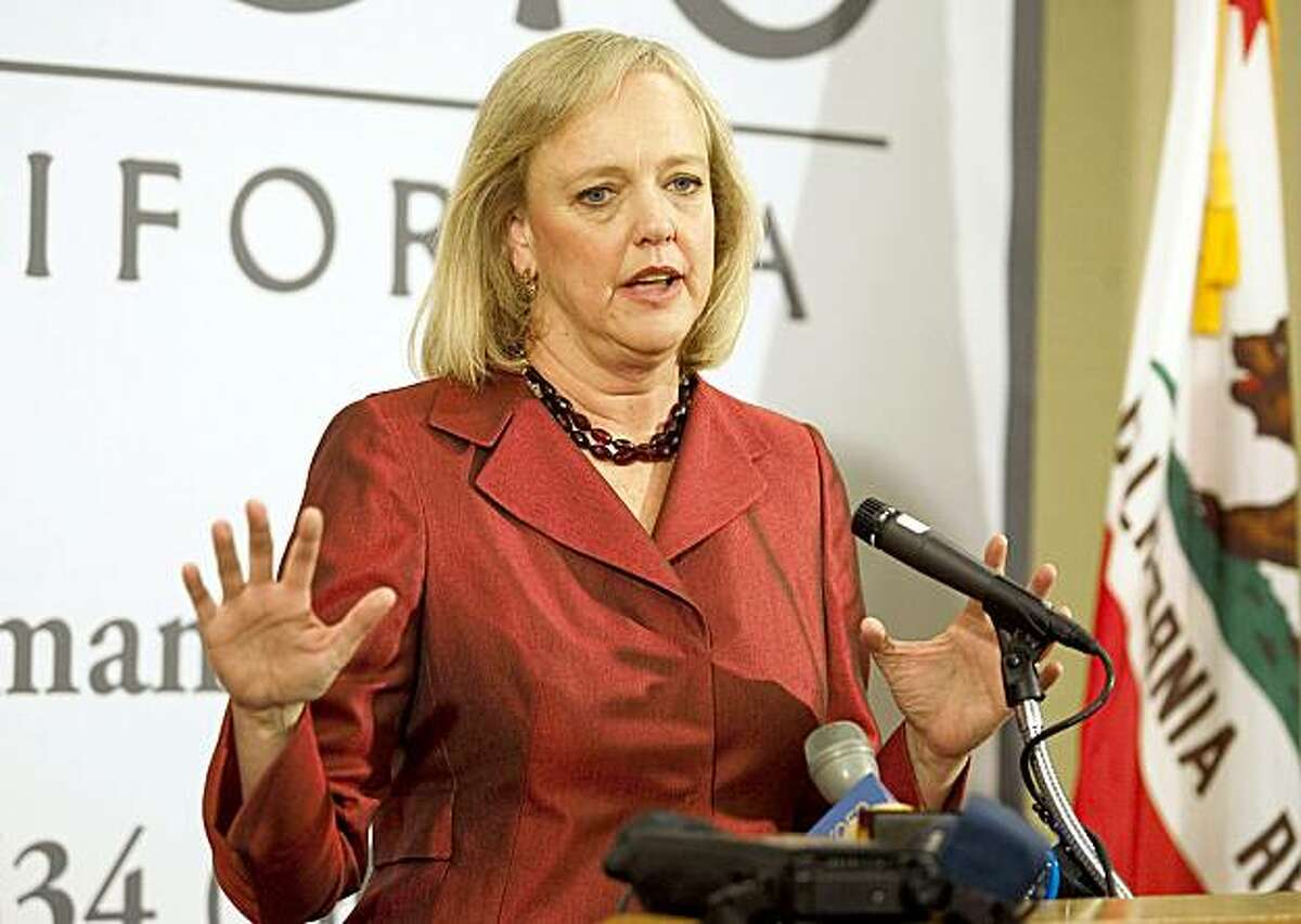 Former eBay chief executive Meg Whitman speaks at a news conference at the California Republican Convention in Indian Wells, Calif., on Saturday, Sept. 26, 2009. Whitman is seeking the Republican nomination for Governor of California.(AP Photo/Francis Specker)