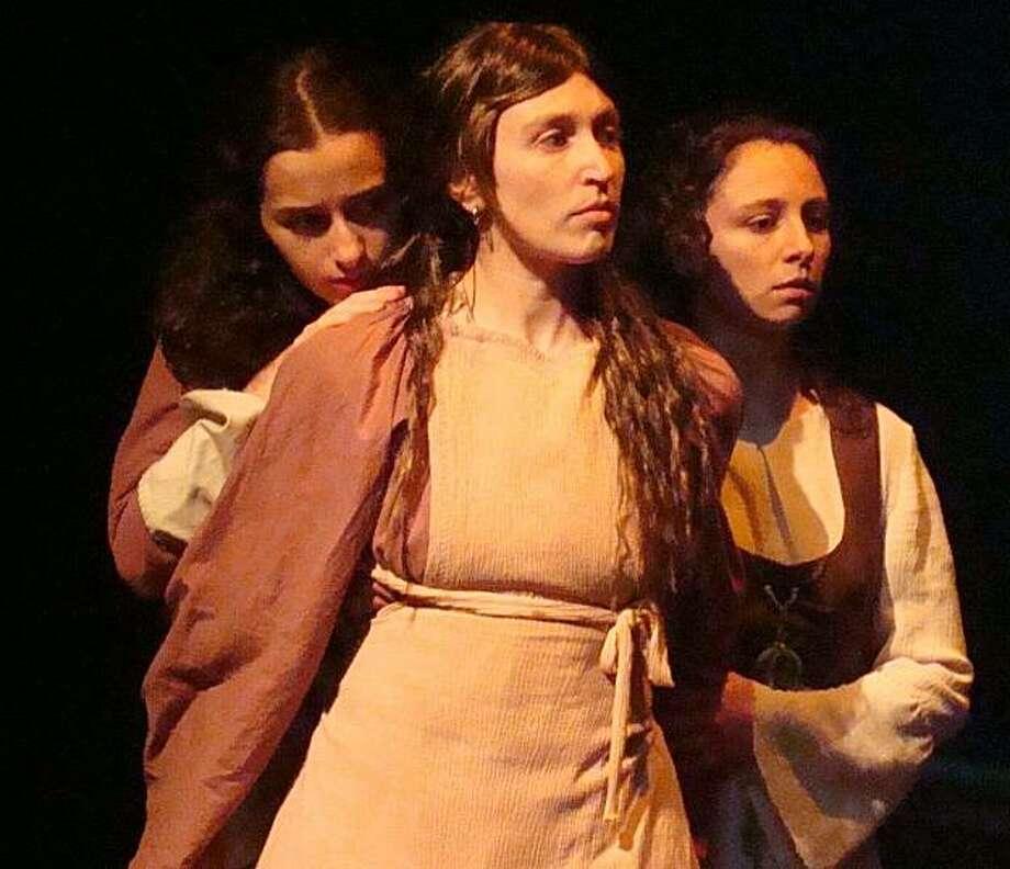 "Sophia Sinsheimer (left), Anna Shneiderman and AnnaMarie MacLeod as Millie, Clara and Grace Candle in Ragged Wing's ""Handless"" Photo: Aidan Fraser"