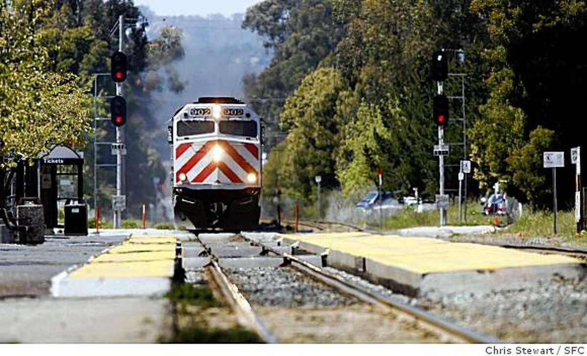 In this file photo, a CalTrain passenger train passes through Burlingame.