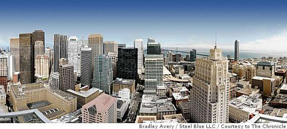 The penthouse (three apartments made into one) of the St. Regis Museum Tower, a new high-end condo building at the corner of Third and Mission streets, will go on the market for $70 million. If it sells for even half that it will set a record for San Francisco residential real estate. This is view to the north and east from the penthouse. Photo: Bradley Avery / Steel Blue LLC, Courtesy To The Chronicle