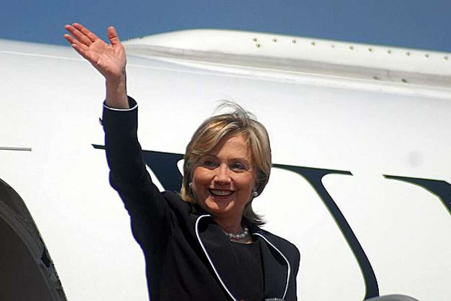 Picture released by the Guatemalan Presidency showing US Secretary of State Hillary Clinton arriving at Guatemala's airport on March 05, 2010. Photo: Ho, AFP/Getty Images