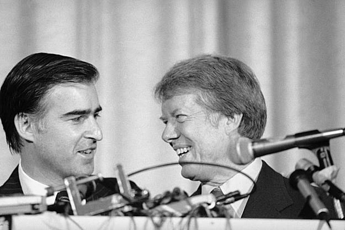 Jimmy Carter and Jerry Brown, the California governor who challenged him for the Democratic presidential nomination, are eye-to-eye, July 15, 1976 in New York after Carter won the party's top spot. (AP Photo)
