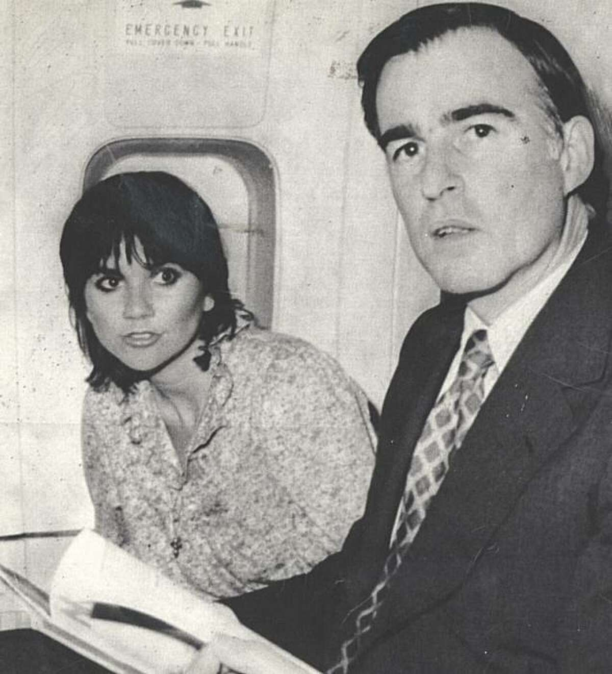 Gov. Jerry Brown and singer Linda Ronstadt fly to Africa on April 8, 1979.