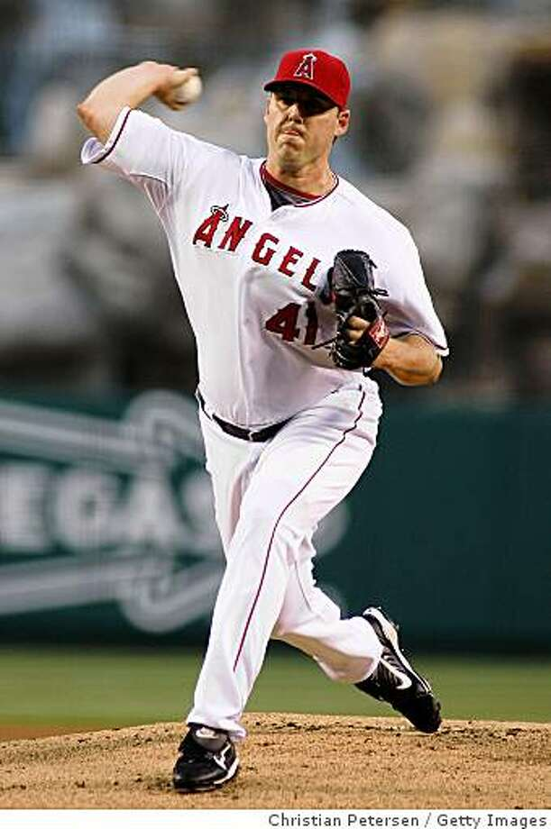 ANAHEIM, CA - AUGUST 26:  Starting pitcher John Lackey #41 of the Los Angeles Angels of Anaheim pitches against the Oakland Athletics during the game at Angel Stadium on August 26, 2008 in Anaheim, California.  (Photo by Christian Petersen/Getty Images) Photo: Getty Images