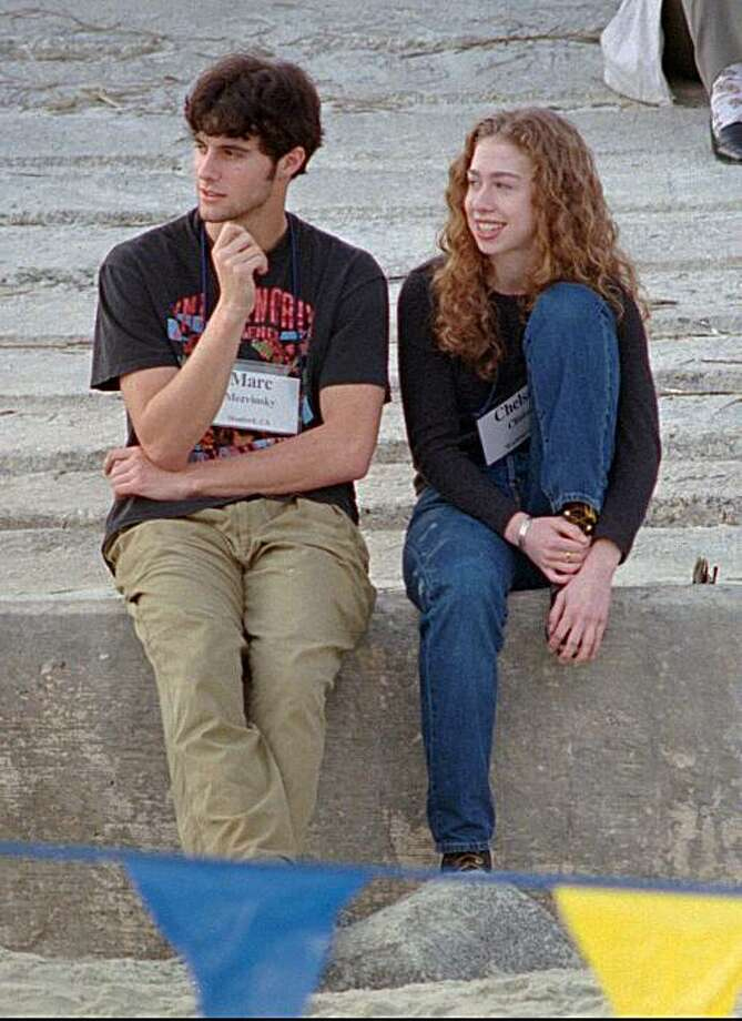 FILE - This Dec. 1996 file photo shows Chelsea Clinton, right, sitting with Marc Mezvinsky in Hilton Head Island, S.C. Clinton and Mezvinsky announced their engagement in November 2009 and told friends they were looking to a possible summer ceremony. Photo: Mary Ann Chastain, AP