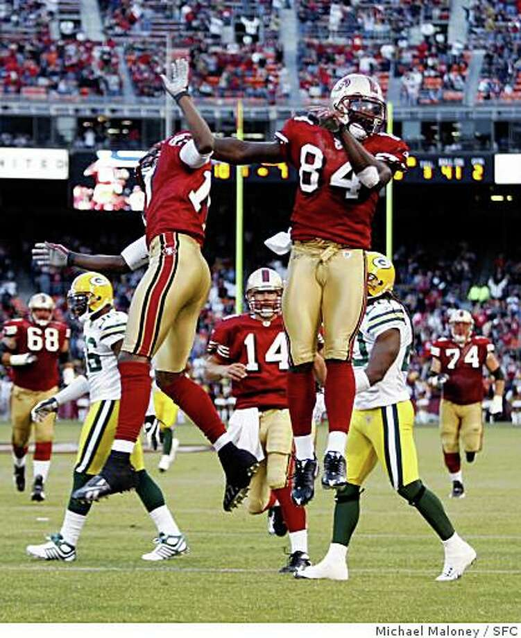 San Francisco 49ers Dominique Zeigler, left and Josh Morgan celebrate Morgan's 2nd quarter TD.The San Francisco 49ers host the Green Bay Packers in an NFL preseason game at Candlestick Park in San Francisco, Calif., on August 16, 2008. Photo: Michael Maloney, SFC