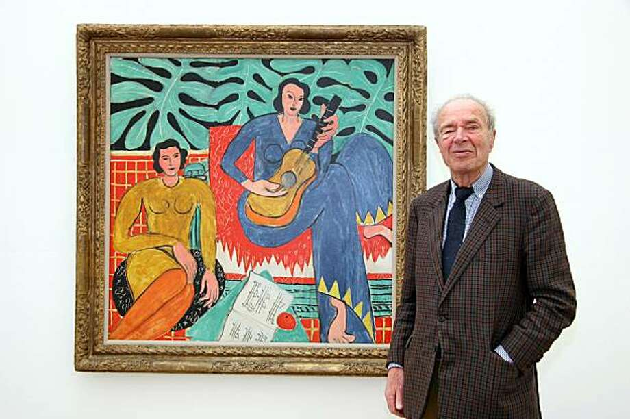 ADDING BYLINE IN IPTC --- (FILES) Swiss art trader Ernst Beyeler poses on March 16, 2006 in front of a Henri Matisse painting in his gallery in Riehen, Switzerland. Beyeler who became renowned for one of the most impressive international collections of 20th century art, has died in Riehen, on the outskirts of the northern city of Basel, at the age of 88, his foundation said on February 26, 2010. After his first exhibition of Japanese woodcuts in 1947, some 16,000 works of art including those by some of the biggest names in modern art passed through Beyeler's hands over 50 years.  His reputation and friendships with famous painters were such that Pablo Picasso allowed him to pick 26 of his works during a visit to the ebullient artist's studio at Mougins Photo: Rene And Elisabeth Buhler, AFP/Getty Images