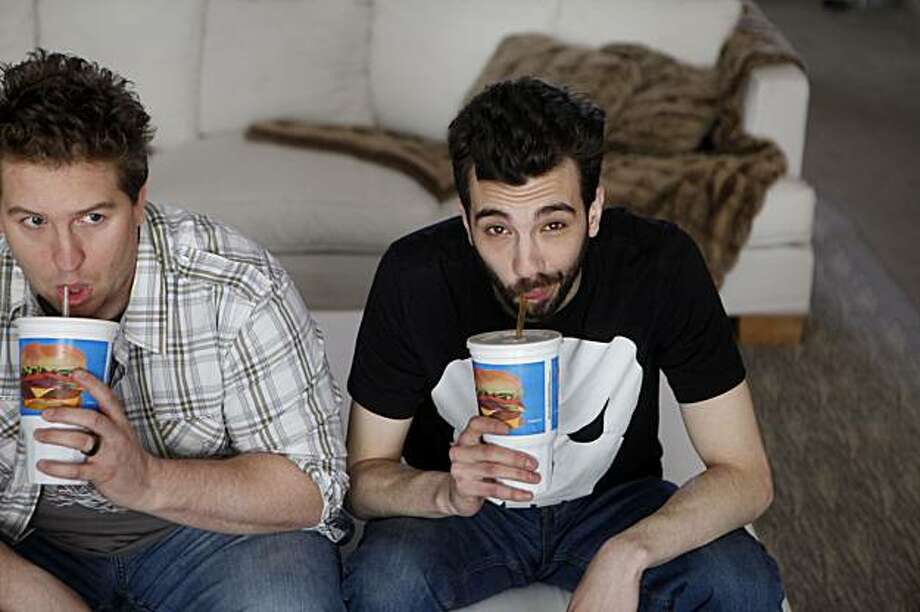 """Promoting their new movie """"She's Out of My Legue,"""" Nate Torrence and Jay  Baruchel sit for a portrait at the Clift Hotel  on Monday Feb. 22, 2009 in San Francisco, Calif. Photo: Mike Kepka, The Chronicle"""