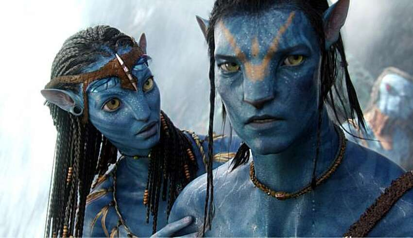 In this film publicity image released by 20th Century Fox, the character Neytiri, voiced by Zoe Saldana, left, and the character Jake, voiced by Sam Worthington are shown in a scene from,