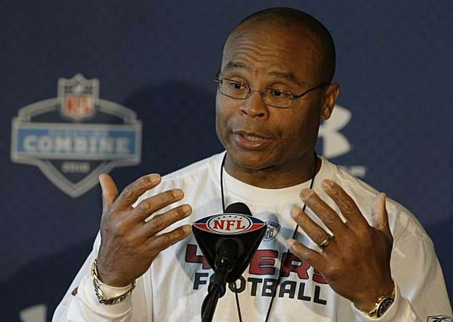 San Francisco 49ers head coach Mike Singletary answers a question during a press conference at the NFL Scouting Combine in Indianapolis, Thursday, Feb. 25, 2010. The event allows teams to evaluate the nation's top college football players eligible for the upcoming NFL Draft. Photo: Michael Conroy, AP