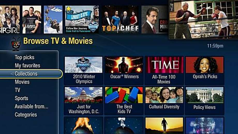In this image released by TiVo Inc., a TV screen shows how TiVo Premiere displays programming. Photo: AP