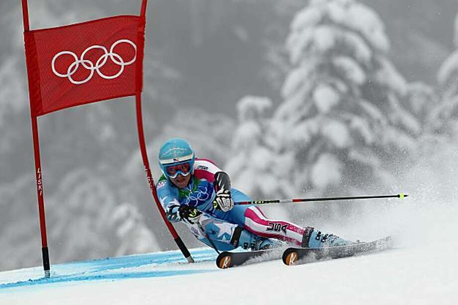 WHISTLER, BC - FEBRUARY 25:  Julia Mancuso of the United States competes during the Ladies Giant Slalom second run  on day 14 of the Vancouver 2010 Winter Olympics at Whistler Creekside on February 25, 2010 in Whistler, Canada. Photo: Clive Rose, Getty Images