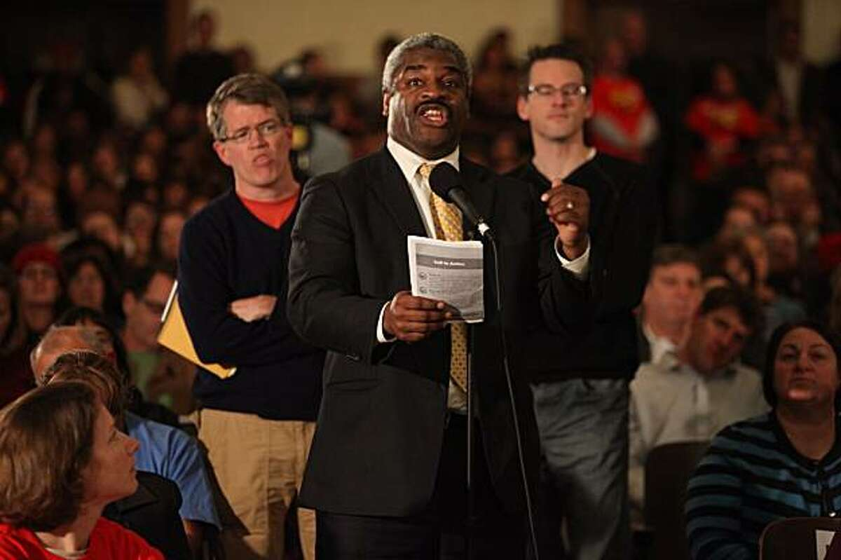 Abraham Simmons asks the panel a question at a townhall meeting to discuss public school budget cuts at Marina Elementary in San Francisco, Ca., on Thursday, February 25, 2010.