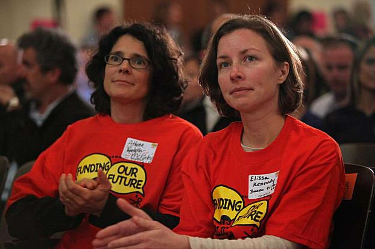 Athena Papadakos (left) and Elissa Kennedy (right) listen in on a town meeting to discuss public school budget cuts at Marina Elementary in San Francisco, Ca., on Thursday, February 25, 2010.